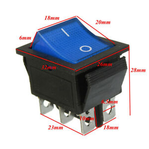 2x Square Rocker Switch Blue Led 6 pin Dpst On off Snap in 15a 250v Ac Car 12v