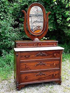 Rosewood Antique Victorian Ornate Dresser Oval Mirror With Marble Top
