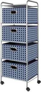 Rolling Storage Cart 4 Basket Drawers Bins Accessory Decorative Navy Fabric