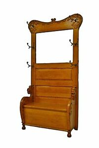 Antique Oak Hall Tree W Mirror Rack Seat Bench Stand