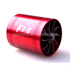 Aluminum Car F1 Z Air Intake Turbonator Double Fan Turbine Turbo Gas Fuel Saver