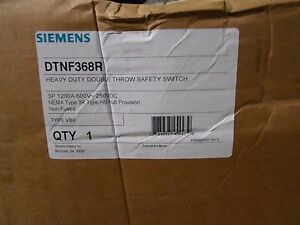 Siemens Dtnf368r Heavy Duty Double Throw Safety Switch 3p 1200amps 600v Nema 3r