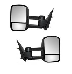 For 99 06 Chevy Silverado Gmc Sierra Black Tow Manual Telescoping Side Mirrors