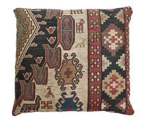 Kilim Caucasian Wool Cushion Circa 1920 Geometric Pattern