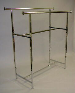 Clothing Rack 60 Double Parallel Bar Garment Clothes Hanger Display Chrome New