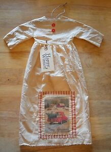 Grungy Hanging Muslin Doll Dress Primitive Folk Art Cupboard Christmas Red 19