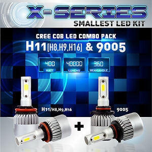 H11 9005 4pcs Led Total 400w 40000lm Cree Combo Headlight High 6000k White Kit