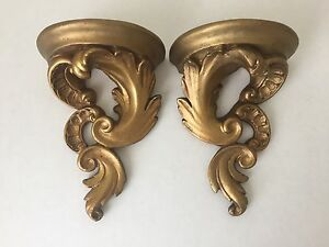 Pair Of Vintage Gold Gilt Plaster Wall Sconces S2
