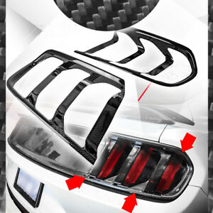 For 2015 2017 Ford Mustang Gloss Carbon Fiber Tail Light Lamp Trim Cover 2pc