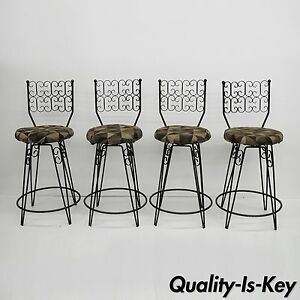 Set Of 4 Arthur Umanoff Grenada Swivel Counter Bar Stools Wrought Iron 24 Seat