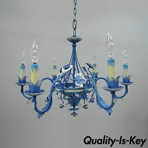 Vtg Blue White Country French Cottage Tole Metal Chandelier Toleware Floral