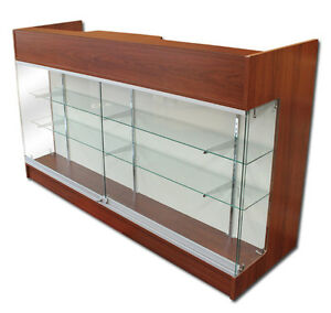 6 Ledgetop Pos Sales Retail Store Display Showcase Counter Cherry Knockdown New