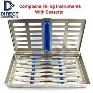 7pcs Dental Amalgam Composite Plastic Filling Instruments Restoration Cassette
