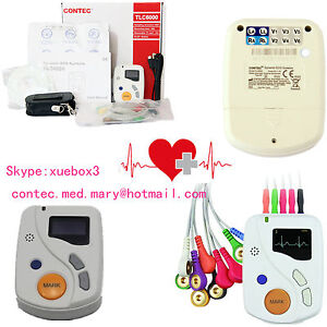 Contec Portable Dynamic Ecg Recorder 48h 12 Lead Holter Tlc6000 Oled software ce