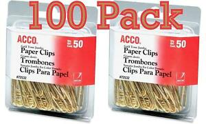 Value Pack Of 100 Acco Gold Tone Jumbo Paper Clips Smooth Finish Steel