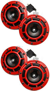 Hella Red Super Tone Dual Car Horn 12v 118db Loud Authentic Brand New Set Of 4
