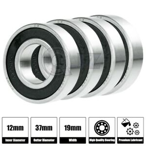 4x 5301 2rs Double Row Shield Ball Bearing 12mm X 37mm X 19mm New Rubber