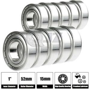 10x 6205 zz Ball Bearing 1 Inch X 52mm X 15mm Double Shielded Seal New Qjz Metal
