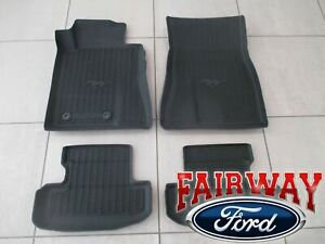 15 Thru 19 Mustang Oem Ford Tray Style Molded Black Rubber Floor Mat Set 4pc New