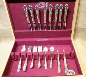 Bridal Veil Pattern Rogers International Sterling Silverware Set 40 Pieces Total