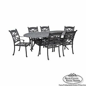 Quality Cast Aluminum Outdoor Patio Dining Table 6 Chair Set