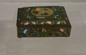 Antique Chinese Pietra Dura Hardstone Inlaid Enamel Brass Copper Box Floral
