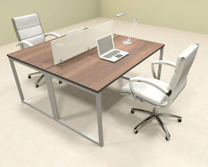 Two Person Modern Acrylic Divider Office Workstation al opn fp3
