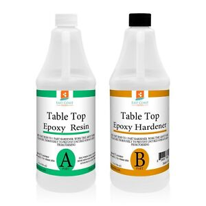 Table Top Epoxy Resin Crystal Clear 64 Oz Kit For Super Gloss Coating