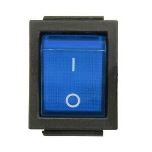 Dpst Blue Led Lit Square Rocker Switch 6 pin On off Snap in 15a 240v 20a 120v Ac