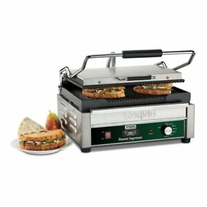 Waring Commercial Wpg250t Grooved Panini Grill With Timer 120 volt