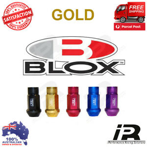 Gold M12x1 25 Blox Forged 7075 Aluminum Lug Nuts For Wrx Sti Evo Honda S14 S15