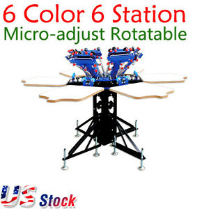 Usa 6 Color 6 Station Silk Screen Printing Machine Micro adjust T shirt Printer