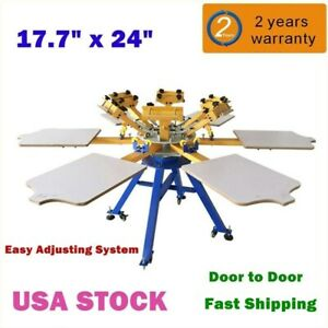 Us Stock 6 Color Silk Screen Printing Machine 6 Station T shirt Press Printer