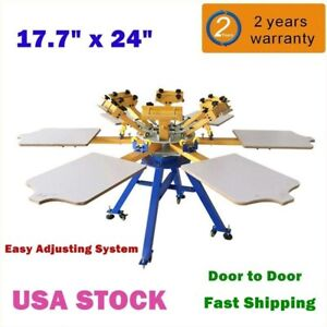 Usa 6 Color 6 Station Silk Screen Printing Machine T shirt Press Printer