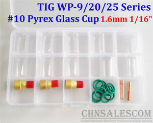 26 Pcs Tig Welding Gas Lens 10 Pyrex Glass Cup Kit For Wp 9 20 25 1 6mm 1 16
