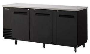 48in Narrow Depth Back Bar Cooler W Black Vinyl Exterior
