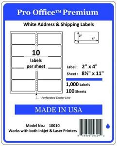 Pro Office Premium 1000 Self Adhesive Shipping Labels For Laser Printers And
