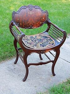 Victorian Ornate Antique Mahogany Inlay Wood Carved Beautiful Throne Chair