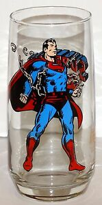 Superman Glass Pepsi Collector Series 1975 Round Bottom Vintage Bright Colors