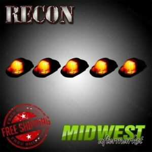 Recon 5 Pc Smoked Led Cab Light Lenses For 2017 2018 Ford F 250 F 350 Super Duty