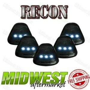 Recon 5pc Smoked Cab Light Kit With White Leds Fits 1999 2016 Ford F 250 F 350