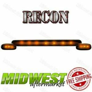 Recon 3pc Smoked Cab Roof Lights Amber Leds Fits 2007 2013 Silverado Sierra 1500