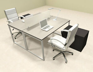 Two Person Modern Acrylic Divider Office Workstation al opn fp38