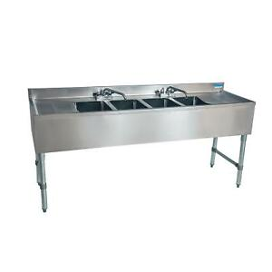 Bk Resources Ub4 21 472ts 72 w Four Compartment Stainless Steel Underbar Sink