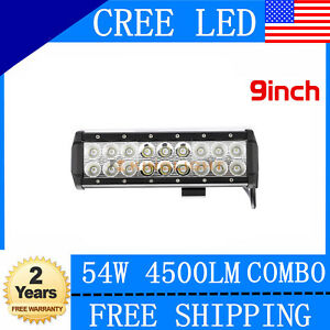 54w 9inch Cree Led Work Light Bar Spot Flood Offroad Driving Truc