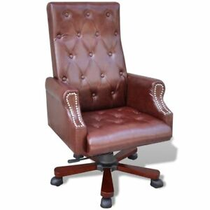 High Back Executive Office Chair Recliner Tufted Artificial Leather Swivel Base