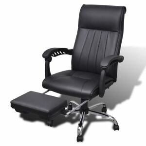 Vidaxl High Back Executive Office Chair Black With Footrest Faux Leather Seat
