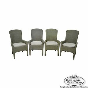 Quality Set Of 4 Green Wicker Dining Arm Chairs