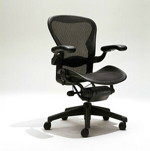 Herman Miller Aeron B Mesh Chair Medium Sz B Fully Adjustable Lumbar Leather Arm