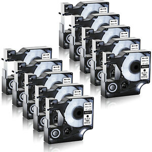 10pk 12mm Black On White Label Tape For Dymo D1 45013 Labelmanager 160 200 1 2